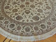 8x8 Round Tabrize Area Rug Wool Silk Hand-knotted Ivory Rust Green Beige