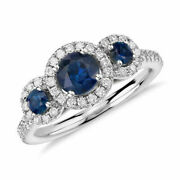 1.70 Ct Natural Diamond Blue Sapphire Ring 14k Solid White Gold Size