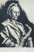 Ronnie Wood Charlie With Saxophone Watts Hand Signed Etching Rolling Stones