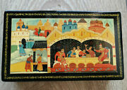 Lacquer Box Mstera Vintage Russian Ussr Painted Song Of The Merchant Kalashnikov