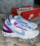 Nike React Element Blue Purple Athletic Running Workout Sneakers Shoes 8.5