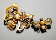 2 Vintage Gold Synthetisch Diamant Rubin And Perle Schmetterling And Hummel Insekt