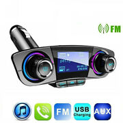 Wireless Car Fm Transmitter Mp3 Player Hands Free Radio Adapter +aux Audio Cable