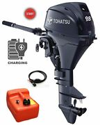 9.8hp Tohatsu Long Shaft Electric Start Tiller Control 4 Stroke Outboard Package