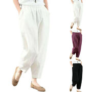 Womenand039s Plain Elastic Belt Pants With Pockets Casual Wide Leg Trousers Bottoms