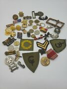 Junk Drawer Lot Wwii Civil War Military Medals Buttons Badges Rank Buckles