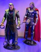 16 Hot Toys Loki And Thor 2 Figure Lot Dark World Stands Hammer Cuffs Knife Hands