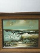 Roal English Seascape Oil Painting 8x10 Overall 11.25 X 13.25 Framed Original