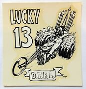"""""""lucky 13 D.f.f.l."""" Vintage Ed """"big Daddy"""" Roth Water Slide Decal"""