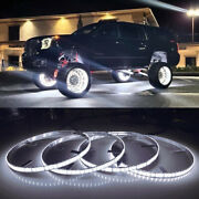 Fia 4x 17.5'' Pure White Led Wheel Ring Lights Double Row Ip68 Switch Controller