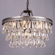 Vintage Big Glass Drops Led Crystal Iron Lustres Chandeliers Pendants For Kitche