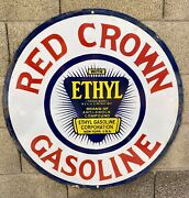 Large 30andrdquo Porcelain Red Crown Man Cave Garage Gas And Oil Station Sign