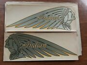True Vintage Two Sets 2 Original Rare Indian Motorcycle Set Of Tank Decals