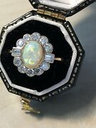 Vintage 18ct Gold Natural Australian Opal And Sparkling Diamond Ring. Size O.