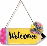 Back To School Welcome Door Sign Classroom Decorations Thank You Teachers Gift F