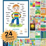 24 Pack Educational Posters For Preschool,classroom Decorations And Decor Earply