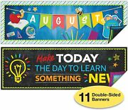 Set Of 11 Motivational Classroom Banner Poster Decorations - Extra Large 13.5'x3