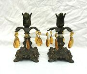 Pair Vintage Gold Plated Ornate Cast Metal 7 Candle Holders With Amber Prisms