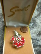 Clown Pin Sarauel Brand Vintage Collectible Red Fluffy Collar Beautiful Fancy