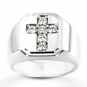 Solid 14k White Gold Mens Natural 0.60 Ct Diamond Engagement Rings Size 10 9 8