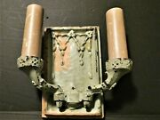 Pair Of Very Heavy Early Bronze 2-arm Wall Lights. Old Paint Art Nouveau