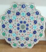 36 Inches Marble Coffee Table Top Inlay Hallway Table With Semi Precious Stones
