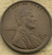 1919 -s Almost Uncirculated Lincoln Wheat Penny. Au Sharp Detailed Copper Cent.