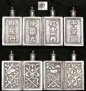 Antique Chinese Qing Silver 4 Bottle Folding Snuff Bottle Set Hallmarked Old