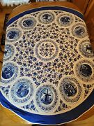 Vintage Blue White Holland Round Tablecloth 54 Inch Medallions Windmill Floral