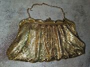 Gorgeous Vtg Whiting And Davis Gold Mesh Scalloped Frame Evening Bag Clutch Purse