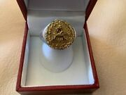10k Yellow Gold Vintage Anheuser Busch Medallion New Round Sterling Silver Ring