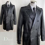 Rare Dior Homme Fw03 By Hedi Slimane Military Style Leather Coat Sz.it50 - Us40