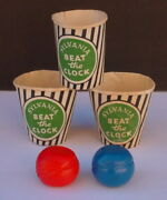Vintage 1954 Beat The Clock Board Game Parts Lot 5 Cups And Balls Lowell Toy Corp