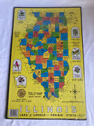 Vtg Illinois Puzzlin' State Jigsaw Puzzle Map By Austin-peirce 1986 New Games Us