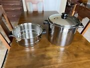 Saladmaster T304s Stainless Steel 10 Qt Stock Pot Roaster With Steamer Pan
