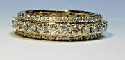 14k Yellow Gold 3 Row Natural Diamond 1.9 Ct Eternity Ring Size 10