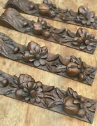 """Set Of 4 Antique Solid Oak Carved Wood Carvings Fruit And Flower 1890 16"""" Inches"""