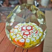 Vintage Murano Faceted Egg Art Glass Paperweight W/ Complex Millefiori And Flowers