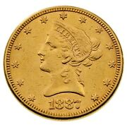 1887 10 Us Gold Liberty Eagle In Au Condition Great Early Us Gold Coin