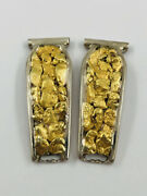 Vtg Alaskan Alaska 23k Yellow Gold Nugget And Sterling Silver Womenand039s Watch Tips