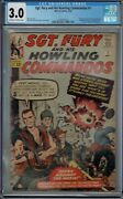 Cgc 3.0 Sgt Fury And His Howling Commandos 1 1st App Nick Fury 1963 Ow/w Pages