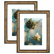12x16 Picture Frame - White Mat For 8x12 Pictures - Vintage Antique Style -