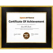 8.5x11 Black/gold Frame For Documents Certificates Diplomas Photos Wall/tabletop