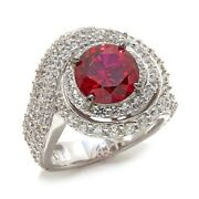 Hsn Jean Dousset Absolute And Created Ruby Sterling Silver Swirl Ring 8 318