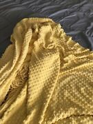 Vintage Twin Yellow Bedspread Popcorn Chenille With Fringe