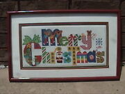 Merry Christmas Counted Cross Stitch Completed Professionally Framed Matted