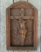 Antique French Carved Walnut Panel Of The Crucifixion - Arts And Crafts Movement