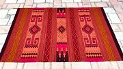 """Large Zapotec Oaxacan 49x79"""" Hand Woven Red Geometric Pattern Wool Tapestry Rug"""
