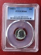 1955-s Roosevelt Silver Dime Pcgs Ms66 Please Check Out Our Inventory