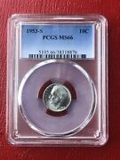 1953-s Roosevelt Silver Dime Pcgs Ms66 Please Check Out Our Inventory